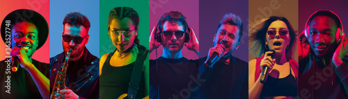 Fotografiet Portrait of people on multicolored studio background in neon