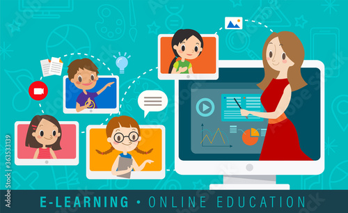 E-learning online education concept illustration. Online teacher on computer monitor. Kids studying at home via internet.