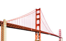 Golden Gate Bridge (San Francisco, California, USA) Isolated On White Background