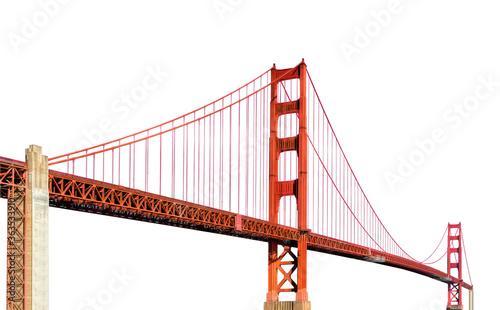 Fotografía Golden Gate Bridge (San Francisco, California, USA) isolated on white background