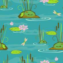 Seamless Vector Pattern With Water Lily's And Dragonfly's On Blue Background. Calm Lake Wallpaper Design.