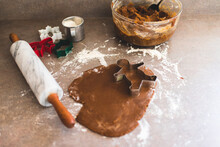 High Angle View Of Rolled Gingerbread Cookie Dough On A Counter