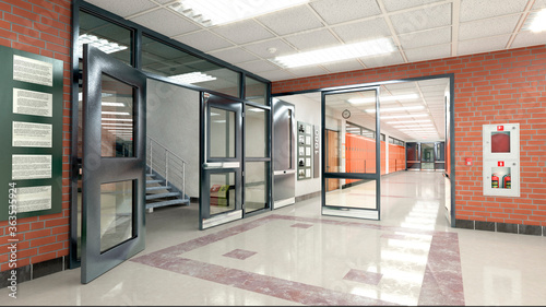School hall and corridor interior. 3d illustration