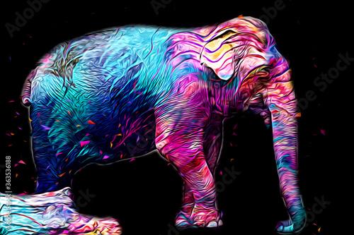 Fototapeta Elephant art illustration retro vintage old obraz