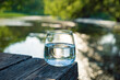 glass of clean water outdoor