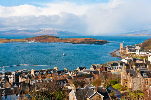 View towards the Isle Kerrera and the Isle of Mull from McCaig's Tower, Oban Wallpaper Mural