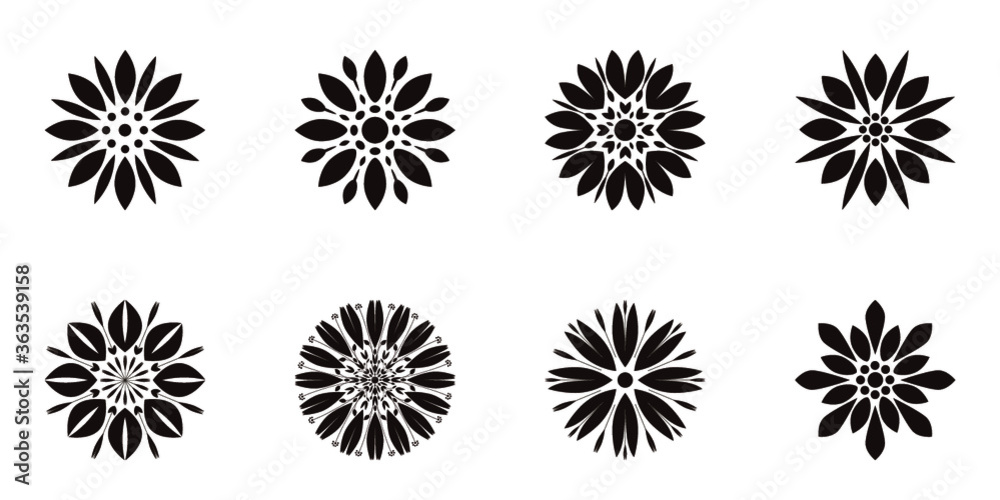 Fototapeta Flowers, vector, black and white, clip art design, stickers, patterns and tiles