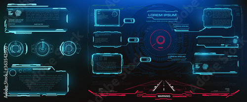Fototapeta HUD, UI, GUI futuristic frame user interface screen elements set. Set of futuristic vector pop-up screens with information. Holographic screens with frame for video games obraz