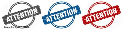 Fototapeta attention stamp. attention sign. attention label set obraz