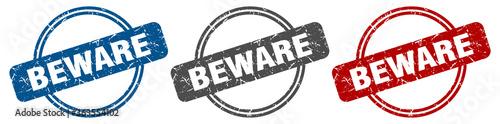 beware stamp. beware sign. beware label set Wallpaper Mural