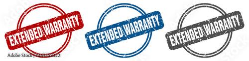 Fototapeta extended warranty stamp. extended warranty sign. extended warranty label set obraz