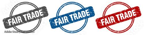 Fototapeta fair trade stamp. fair trade sign. fair trade label set obraz