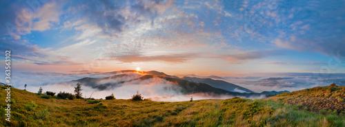 Obraz Panorama. Wonderful summer morning in the mountains. Sunrise over the mountains shrouded in fog. Carpathian mountains, Ukraine, Europe - fototapety do salonu