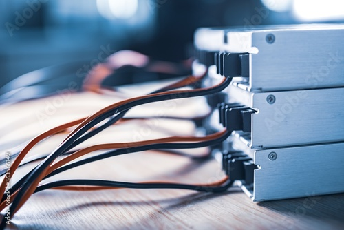 Fototapeta Close-up metal cases for storing power supply