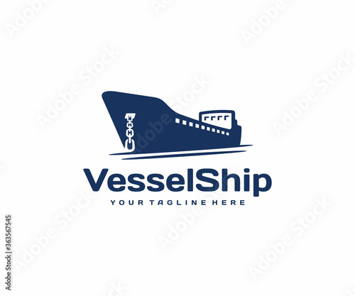 Container vessel with anchor logo design Canvas Print