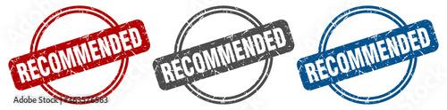 Fototapeta recommended stamp. recommended sign. recommended label set obraz