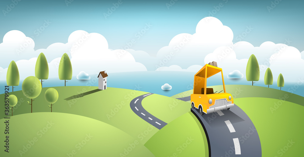 Fototapeta Yellow car move along country road and journey on summer. Vector art and illustration travel concept