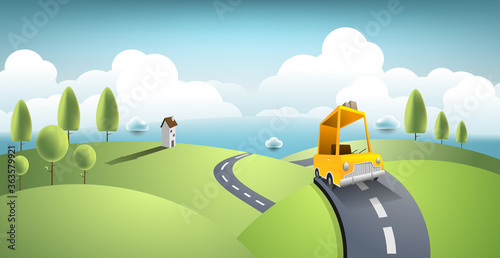 Obraz Yellow car move along country road and journey on summer. Vector art and illustration travel concept - fototapety do salonu