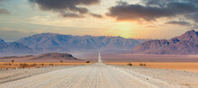 Gravel Road And Beautiful Landscape In Namibia