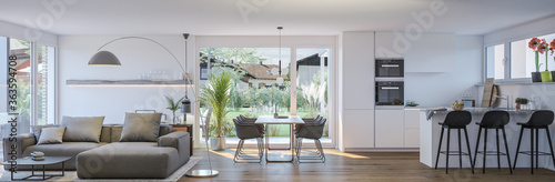 panorama view inside modern apartment - 3d rendering © Christian Hillebrand