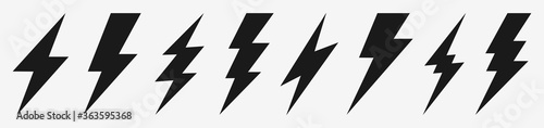 Leinwand Poster Thunder bolt lighting flash icon set