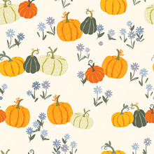Cute Hand Drawn Pumpkin Seamle...