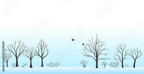 Photo 雪の積もった木々と鳥 冬の景色