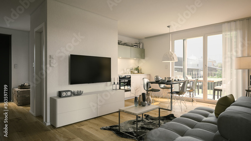 living room and kitchen apartment - 3d rendering © Christian Hillebrand
