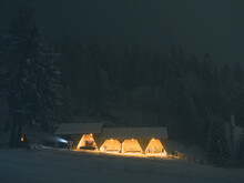 Illuminated Buildings In Forest During Winter At Night