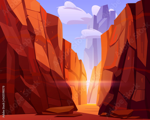 Fototapeta Desert road in canyon with red mountains. Vector cartoon landscape of nature park, ground road in gorge with stone cliffs and rocks. Grand canyon national park in Arizona obraz
