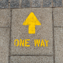 Bright Yellow One Way Arrow Si...