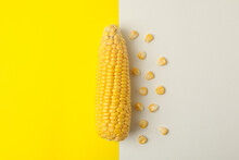 Fresh Raw Corn On Two Tone Bac...
