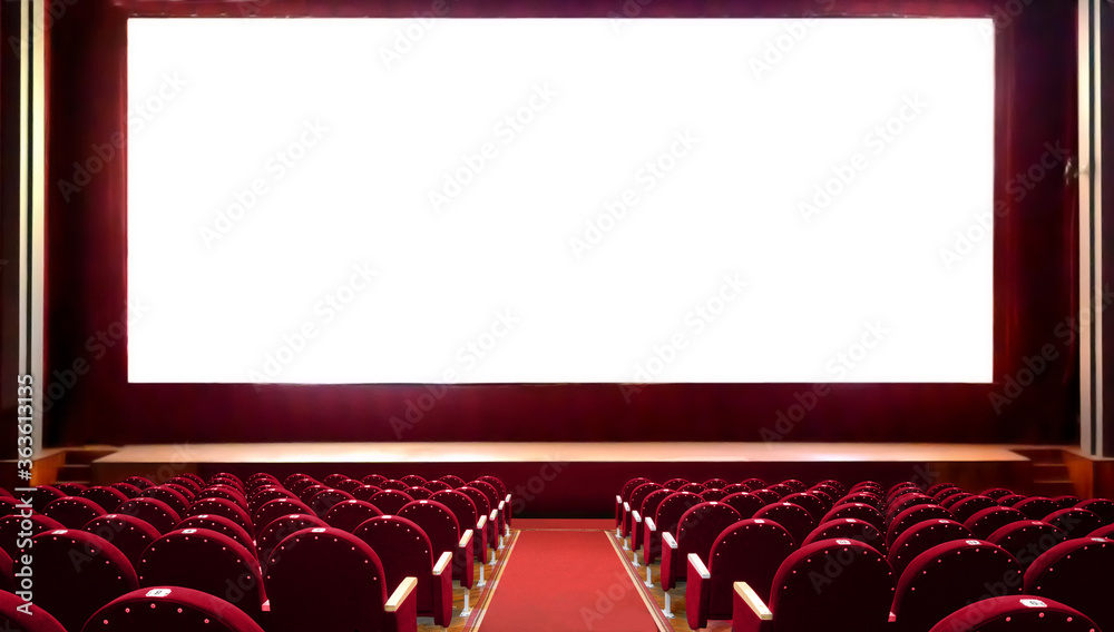 Fototapeta Empty red cinema seats with blank white screen for adding a picture