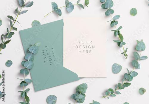 Fototapeta Card Envelope Mockup with Eucalyptus Sprigs obraz
