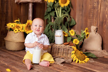 Happy Little Boy Having Fun And Playing Among Blooming Sunflowers Near The Cart. The Child Eats Cookies With Milk