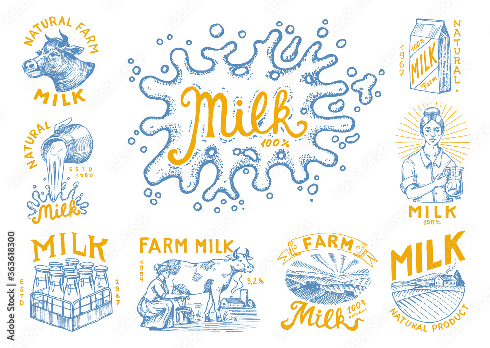 Fototapeta Milk set. Cow and woman farmer, milkmaid and jug, blot and bottles, packaging and meadow, man holds a glass. Vintage logo for shop. Badge for t-shirts. Hand Drawn engrave sketch. Vector illustration.