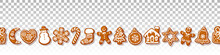 Christmas Gingerbread Cookies Seamless Border On Transparante Background Traditional Homemade Sugar Coated Cookies