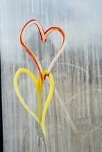 Hearts On Streaky Glass Window...