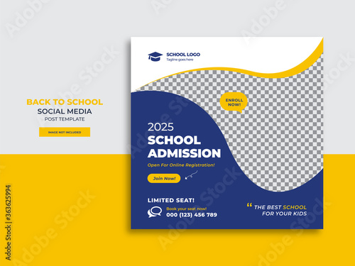 Fotografía Back to school admission promotion social media post banner template design