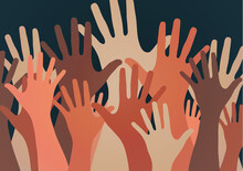 People Raise Their Hands, Vote With Their Hands. The Concept Of Multinationality, Diversity, Union And Power. Volunteering, Charity, Donations And Solidarity.