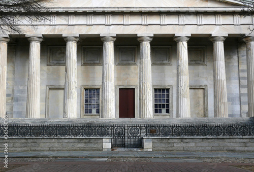 The historic Second National Bank building inside Independence National Park in Philadelphia Pennsylvania. #363630168