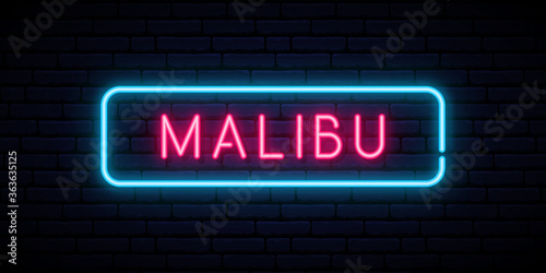 Cuadros en Lienzo Malibu neon sign. Bright light signboard. Vector banner.