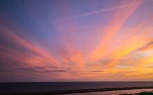Sunset At Sea Barn Farm, Fleet, Weymouth, Uk