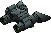 A Pair Of Night Vision Binoculars With Eye Hoods/cups.