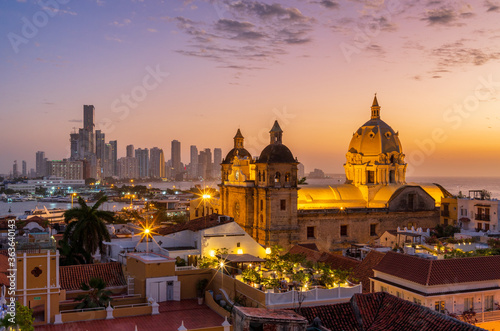 High Angle View Of Buildings In City At Sunset Cartagena Fototapet