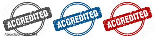 Photo accredited stamp. accredited sign. accredited label set