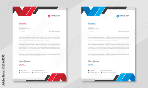 Fototapeta Professional business letterhead design in red & blue with geometric shapes. Creative & clean business style print ready letterhead for corporate offices. Vector graphic design. obraz
