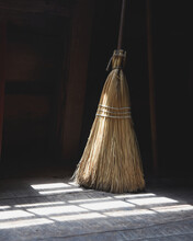 Old Broomstick In Room With Li...