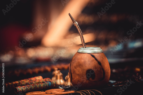 Mexican cup calabash for pumpkin mate tea is on the table Fototapet
