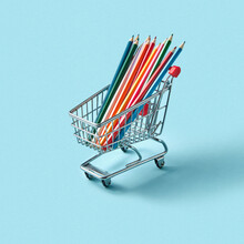 Shoping Cart With Colored Draw...